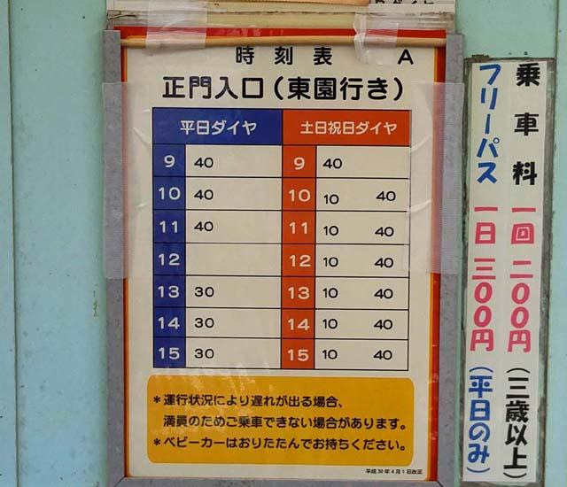 埼玉こども動物自然公園-彩ポッポ時刻表